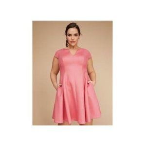 Lane Bryant Pink Dress Midi Short Sleeve 26 28